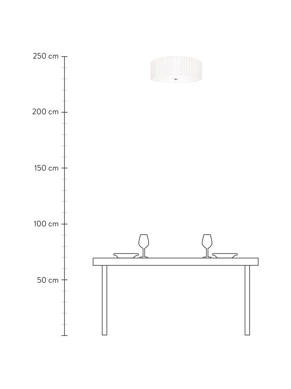 Deckenleuchte Jackie aus Faltenstoff, Lampenschirm: Textil, Diffusorscheibe: Kunststoff, Dekor: Metall, Weiß, Ø 45 x H 15 cm