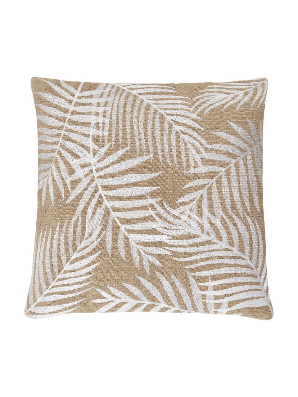 Poszewka na poduszkę z juty Danielle, Beżowy, biały, S 40 x D 40 cm