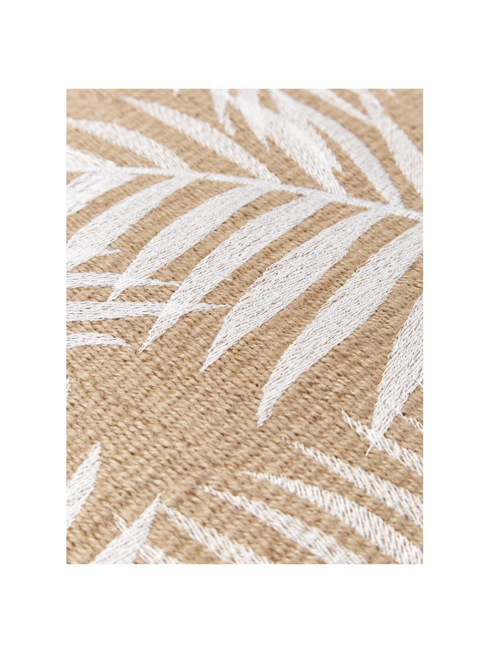 Federa arredo in juta con motivo tropicale Danielle, Retro: 100% cotone, Beige, bianco, Larg. 40 x Lung. 40 cm