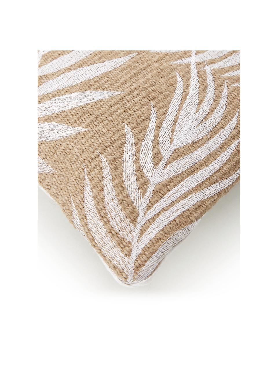 Jute-Kissenhülle Danielle mit Palmenblattmotiven, Vorderseite: 100% Jute, Rückseite: 100% Baumwolle, Beige,Weiß, 40 x 40 cm