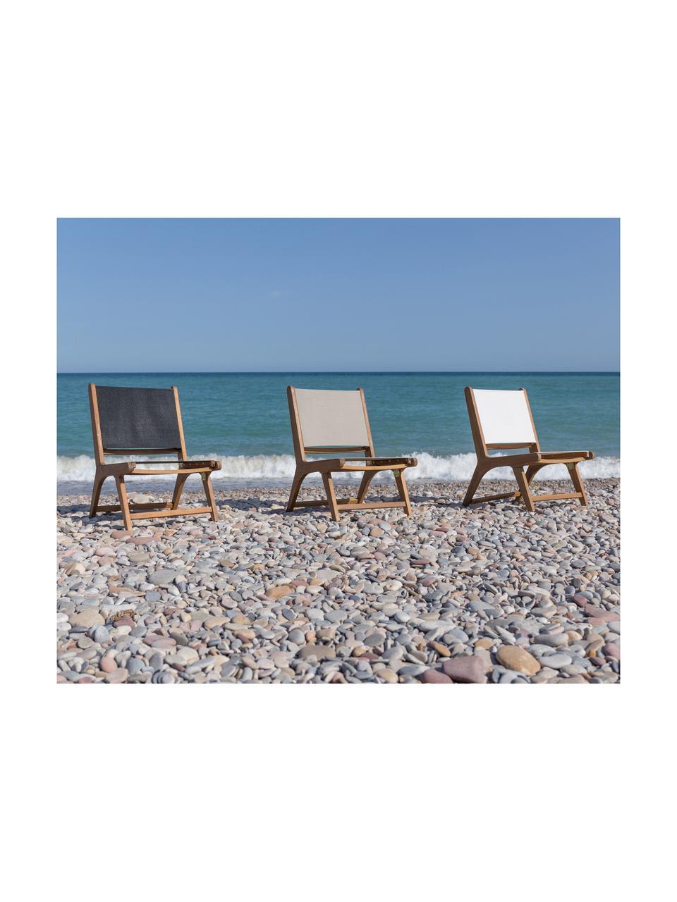 Outdoor fauteuil Nina, Frame: massief acaciahout, Wit, B 50 x D 64 cm