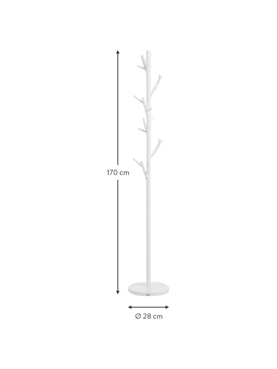 Appendiabiti con 18 ganci Tree, Tubolare in acciaio, verniciato a polvere, Bianco, Ø 28 x Alt. 170 cm