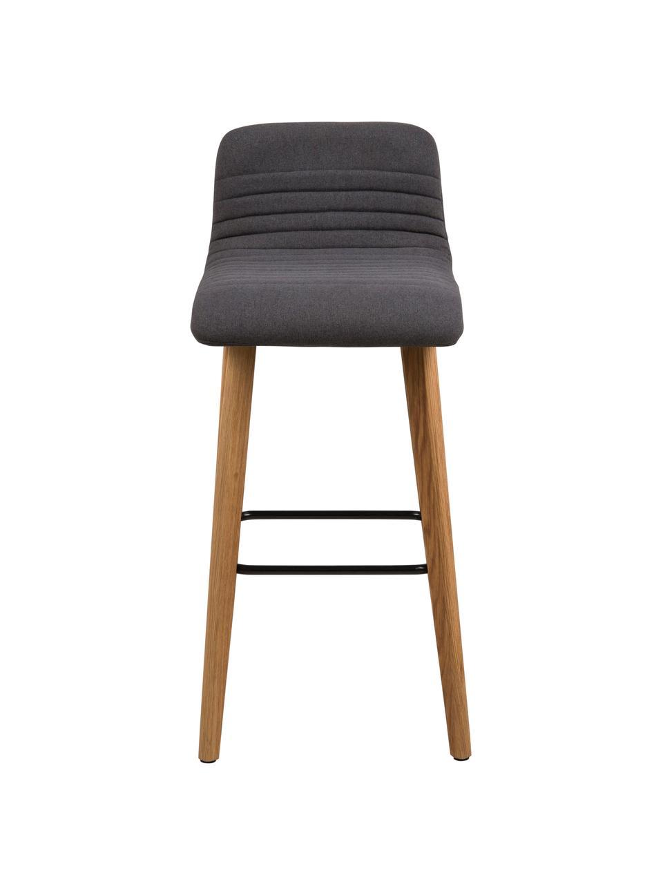 Barstuhl Arosa in Grau, Bezug: Polyester, Beine: Eichenholz, Sitzschale: Sperrholz, Bezug: Anthrazit Beine: Eichenholz Fußstütze: Schwarz, 44 x 101 cm