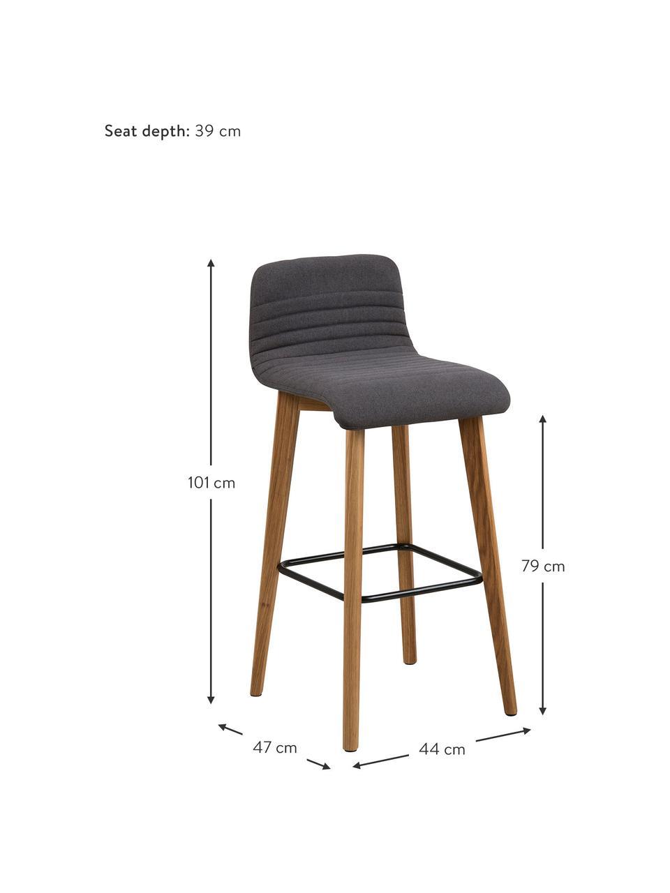 Krzesło barowe  Arosa, Tapicerka: poliester, Nogi: drewno dębowe, Tapicerka: antracytowy Nogi: drewno dębowe Podnóżek: czarny, S 44 x W 101 cm