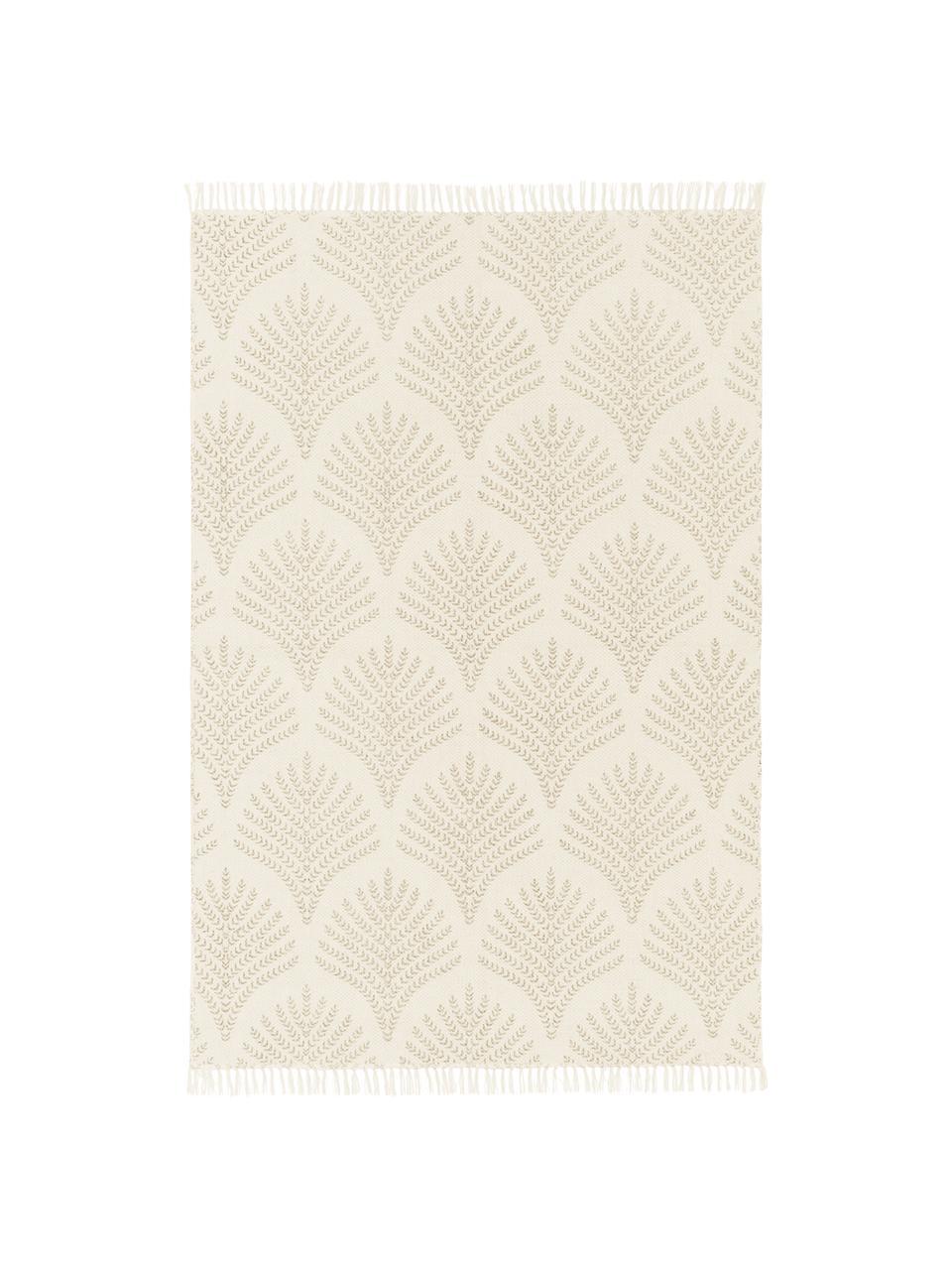 Tkany na płasko dywan z bawełny z frędzlami Klara, Beżowy, S 70 x D 140 cm (Rozmiar XS)