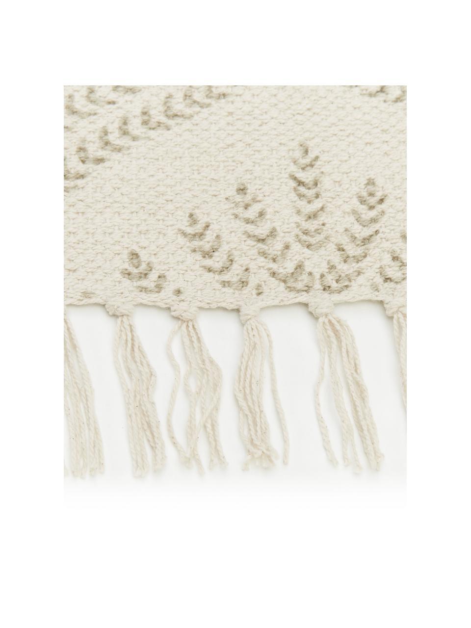 Tappeto in cotone beige/taupe tessuto piatto con frange Klara, Beige, Larg. 70 x Lung. 140 cm (taglia XS)