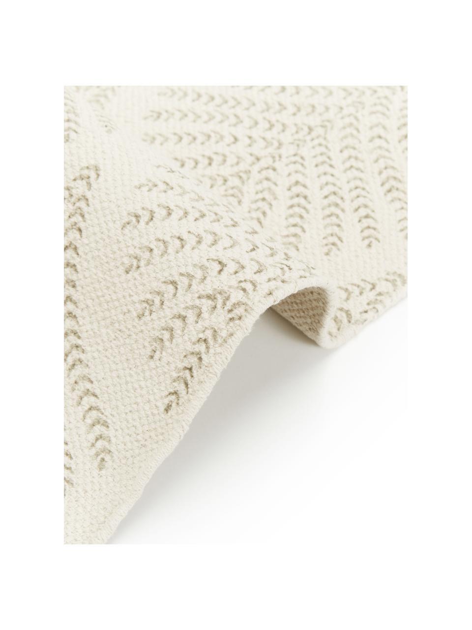 Flachgewebter Baumwollteppich Klara in Beige/Taupe mit Fransenabschluss, Beige, B 70 x L 140 cm (Größe XS)