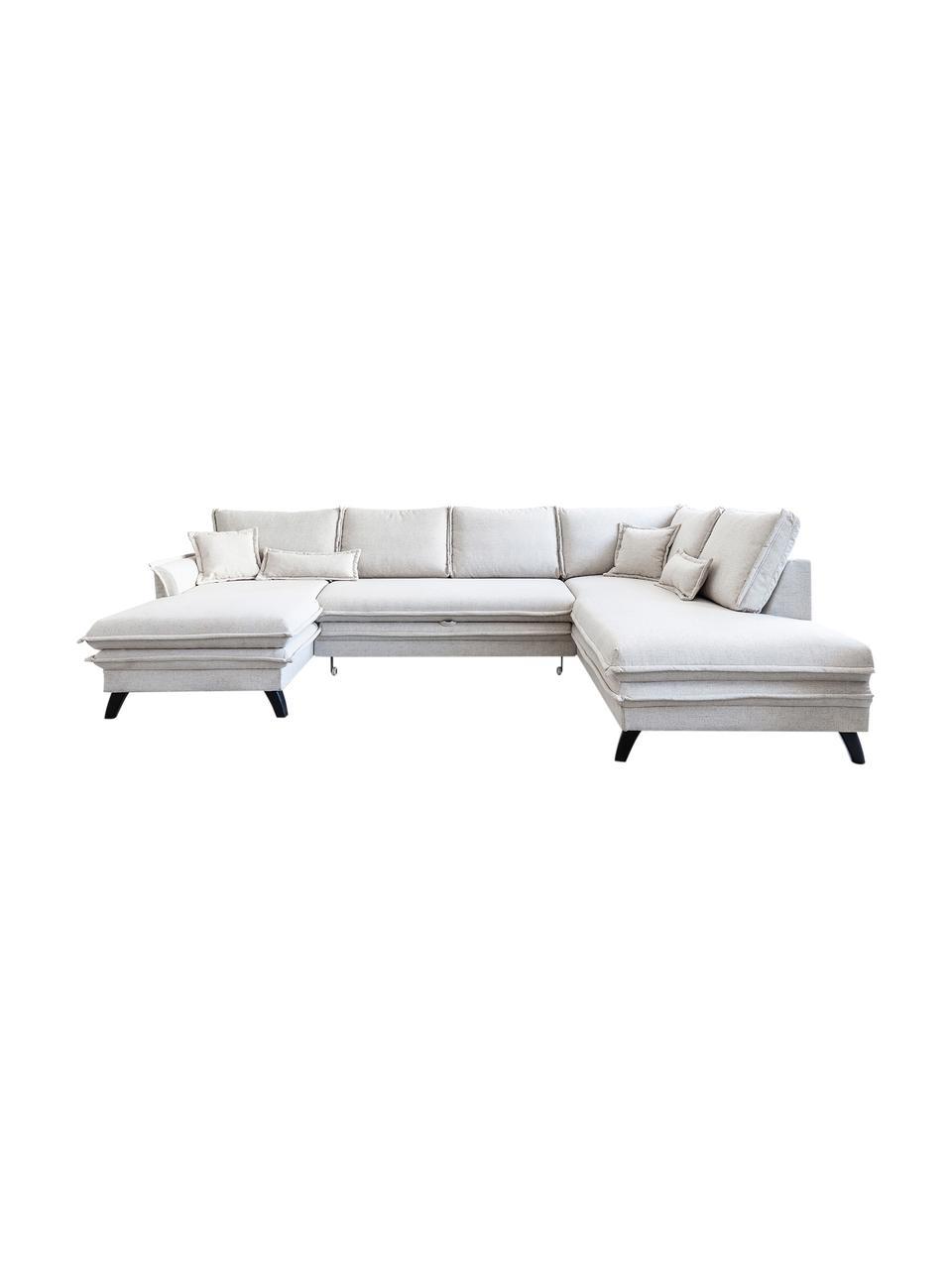 Sofa narożna z funkcją spania i miejscem do przechowywania Charming Charlie, Tapicerka: 100% poliester, w dotyku , Stelaż: drewno naturalne, płyta w, Beżowy, S 302 x G 200 cm