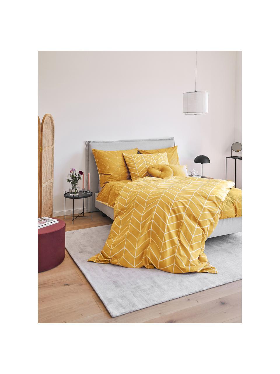 Pościel z bawełny Mirja, Musztardowy, kremowobiały, 135 x 200 cm + 1 poduszka 80 x 80 cm