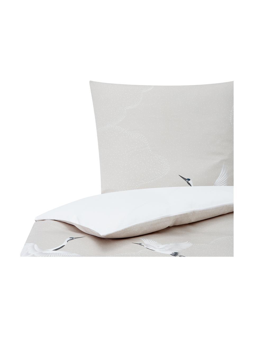 Baumwollsatin-Bettwäsche Yuma mit Kranichmotiv, Webart: Satin Fadendichte 210 TC,, Beige, Weiß, Grau, 135 x 200 cm + 1 Kissen 80 x 80 cm
