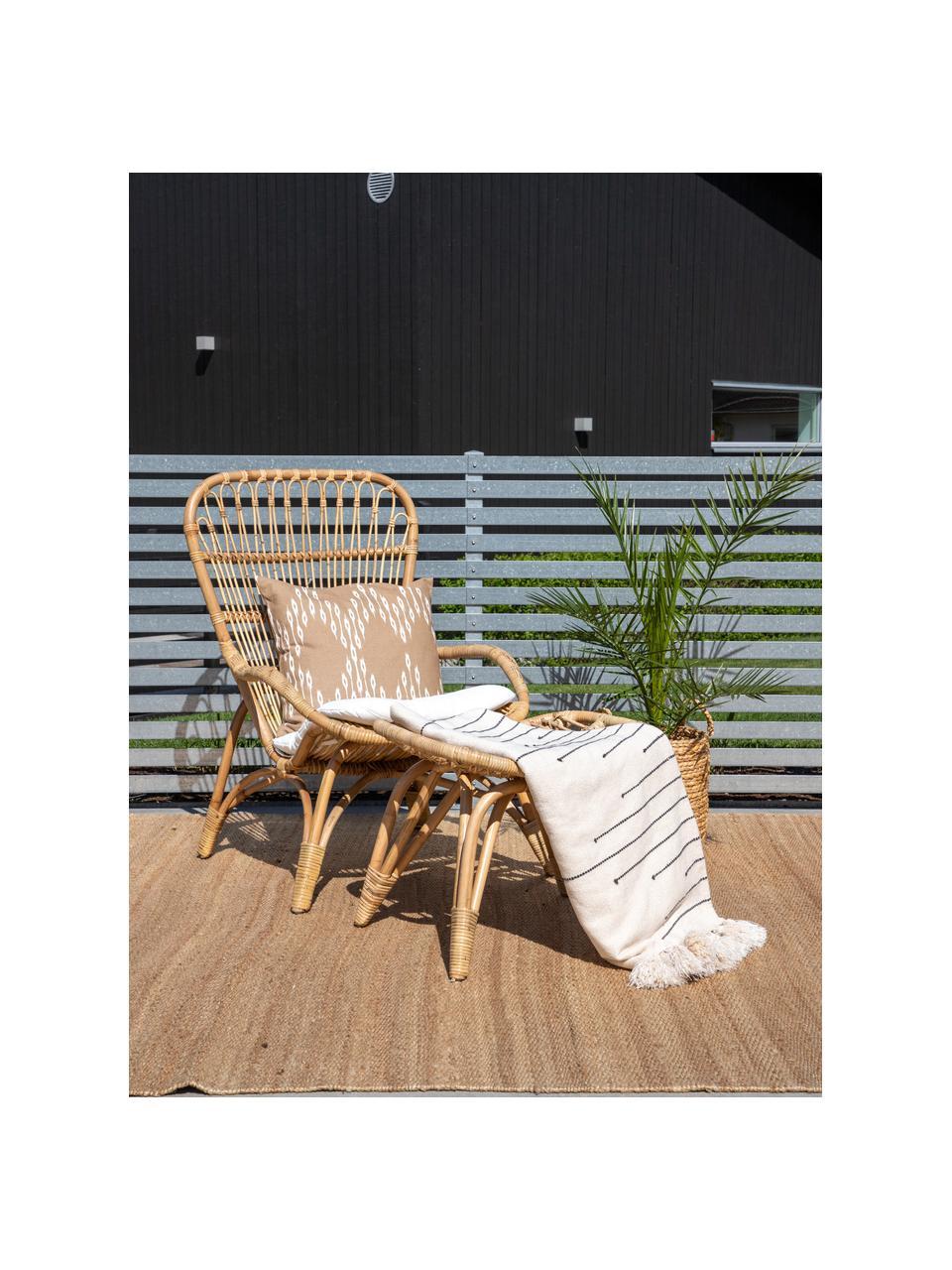 Rattan-Gartensessel Ella mit Hocker, Rattan, Polyester, Braun, B 66 x T 131 cm