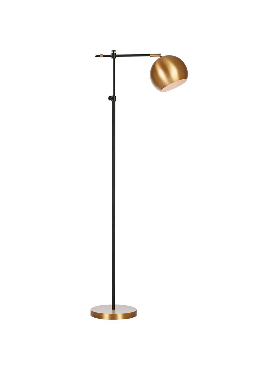 Industrial-Leselampe Chester aus Metall, Gestell: Messing, lackiert, Lampenfuß: Messing, Braun, Schwarz, 25 x 135 cm