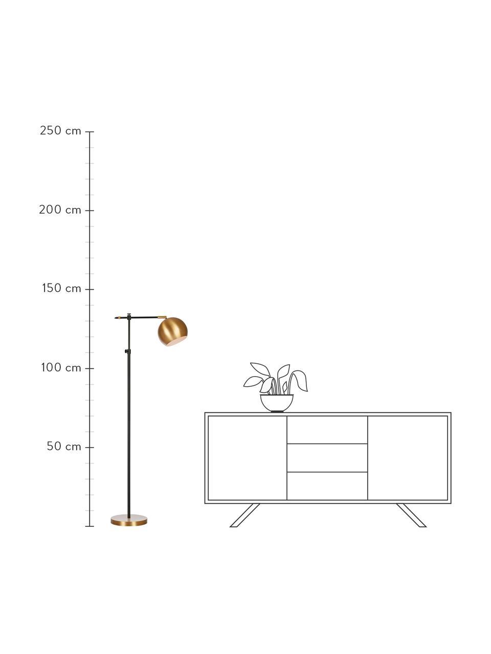 Lampada da lettura in metallo Chester, Struttura: ottone verniciato, Base della lampada: ottone, Marrone, nero, Larg. 25 x Alt. 135 cm