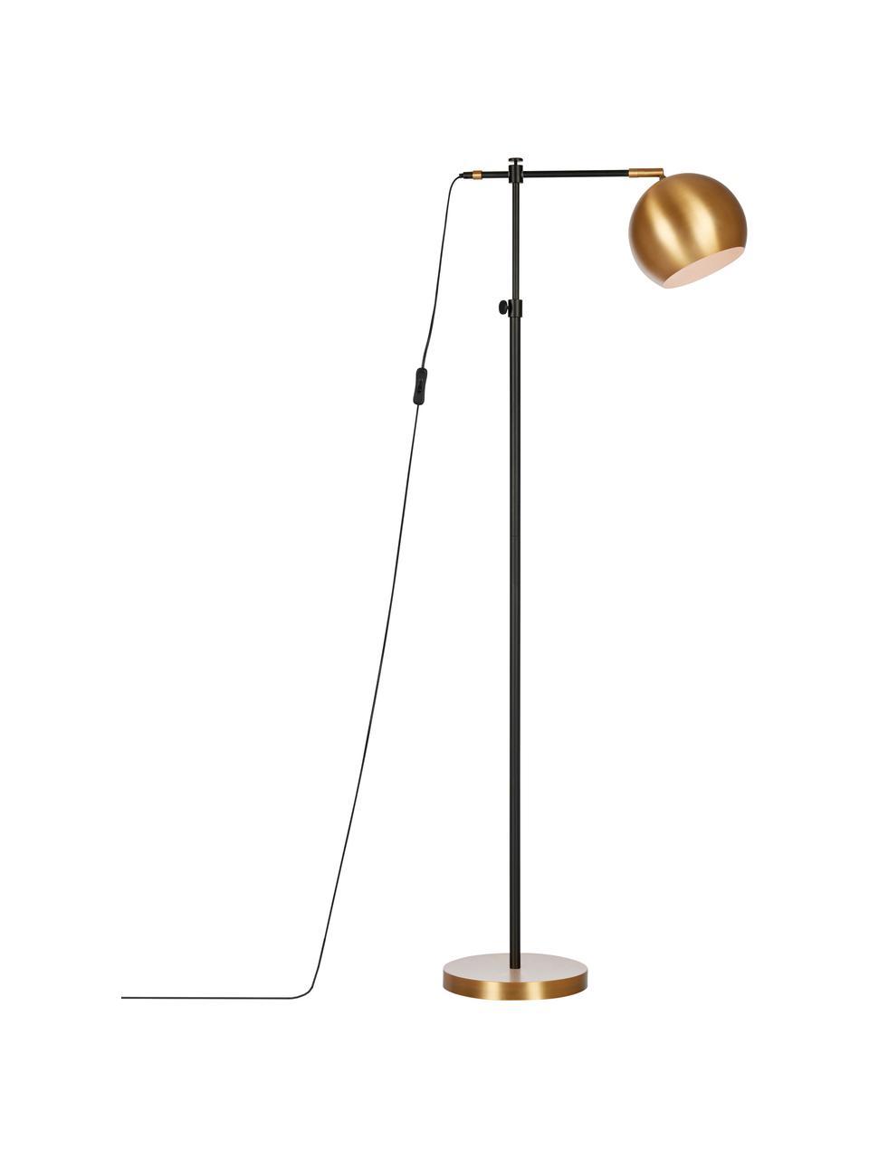 Kleine Industrial-Leselampe Chester aus Metall, Gestell: Messing, lackiert, Lampenfuß: Messing, Braun, Schwarz, 54 x 135 cm