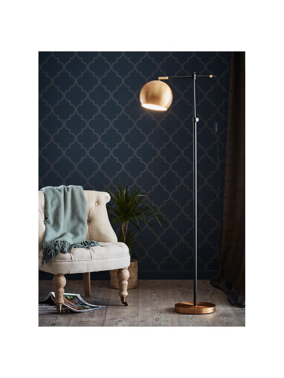 Kleine industriële leeslamp Chester van metaal, Frame: gelakt messing, Lampvoet: messing, Bruin, zwart, 54 x 135 cm