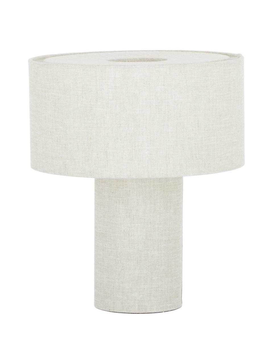 Lámpara de mesa Ron, Pantalla: tela, Cable: plástico, Beige, Ø 30 x Al 35 cm