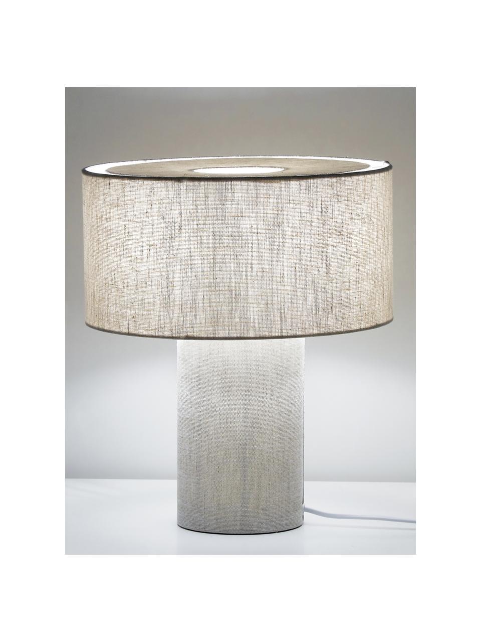 Kleine Nachttischlampe Ron aus Stoff, Lampenschirm: Textil, Beige, Ø 30 x H 35 cm