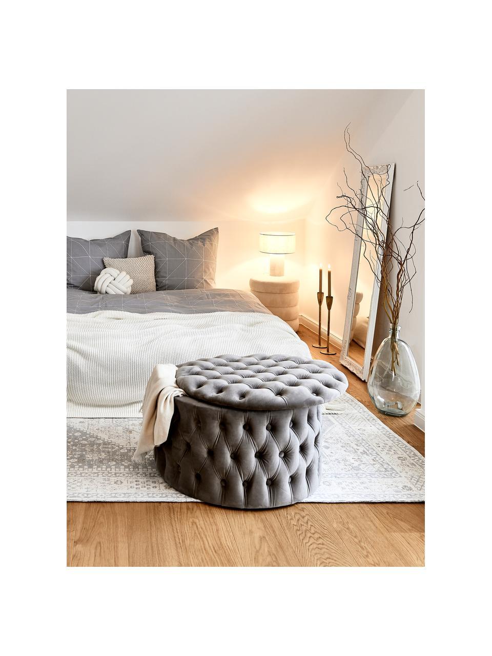 Lampada da tavolo in tessuto Ron, Paralume: tessuto, Base della lampada: tessuto, Paralume: grigio base della lampada: grigio cavo: nero, Ø 30 x Alt. 35 cm