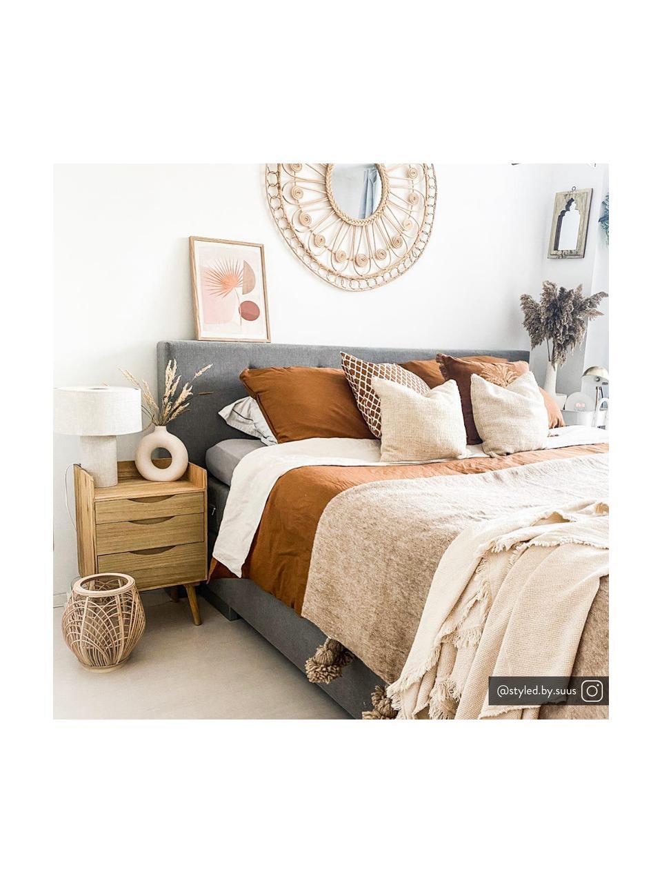 Tafellamp Ron in beige, Lampenkap: textiel, Lampvoet: textiel, Diffuser: textiel, Lampenkap: grijs. Lampvoet: grijs. Snoer: wit, Ø 30 x H 35 cm