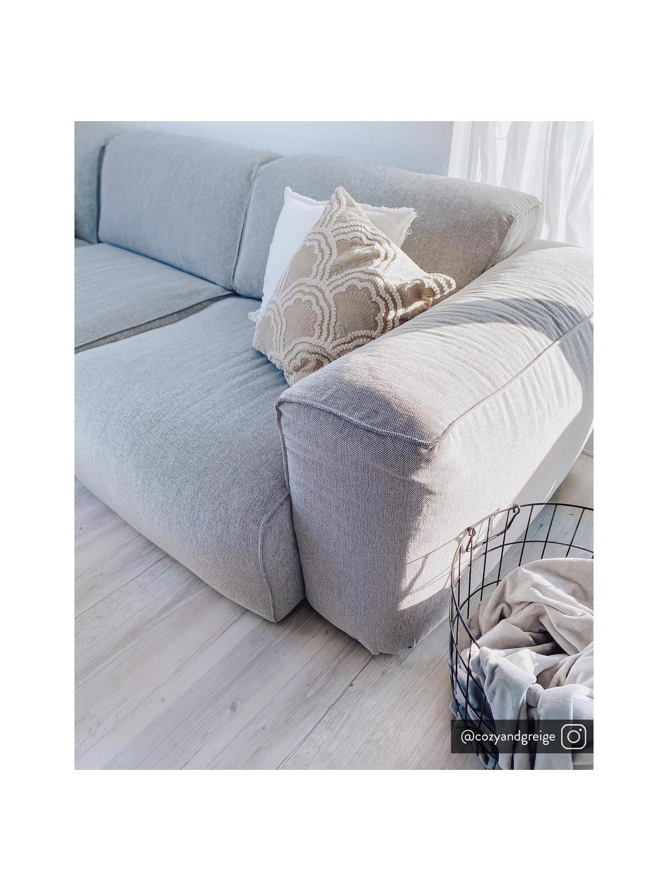 Bestickte Samt-Kissenhülle Chelsey mit Hoch-Tief-Muster, 100% Baumwollsamt, Hellbeige, 45 x 45 cm