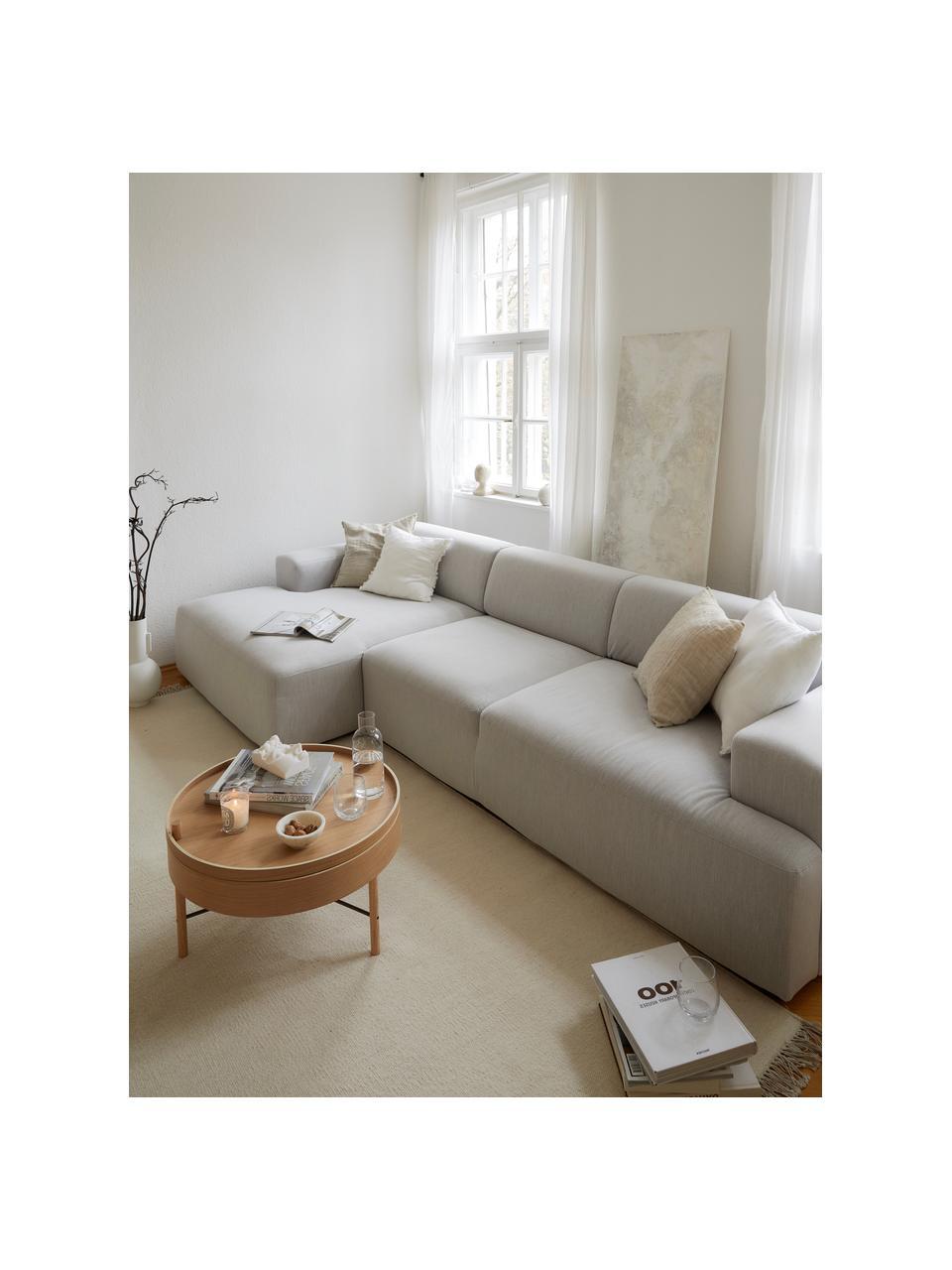 Canapé d'angle 4places gris clair Melva, Tissu gris clair