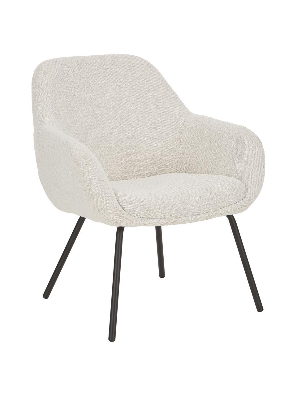 Fotel koktajlowy Jana, Tapicerka: poliester (materiał tekst, Nogi: metalowe, lakierowane pro, Kremowobiały teddy, S 72 x G 68 cm