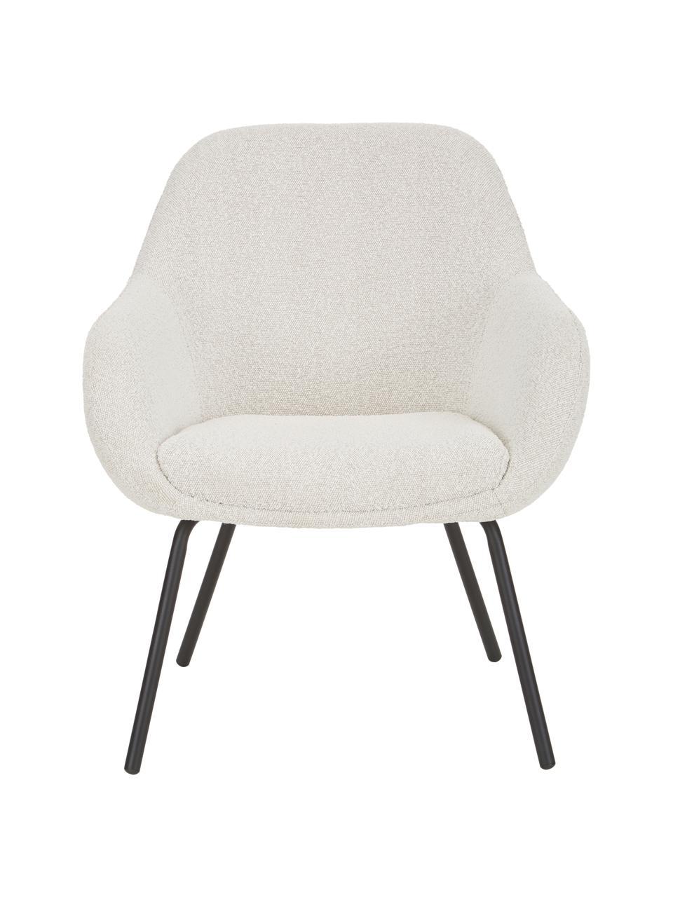 Sedia con braccioli in teddy Kassandra, Gambe: metallo verniciato a polv, Teddy bianco panna, Larg. 72 x Prof. 68 cm