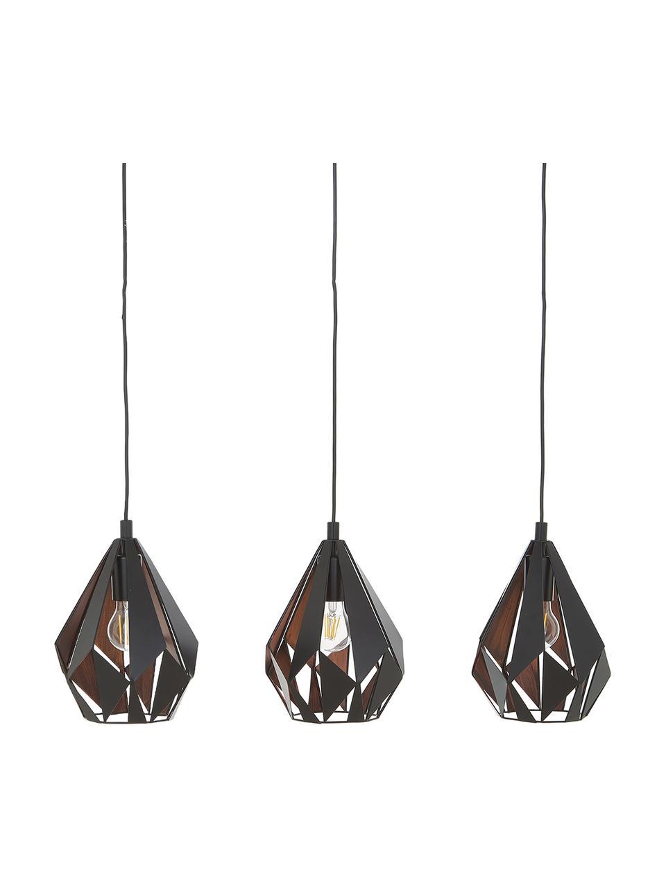Lampada a sospensione in metallo Carlton, Paralume: acciaio verniciato, Baldacchino: acciaio verniciato, Nero, Larg. 81 x Alt. 28 cm
