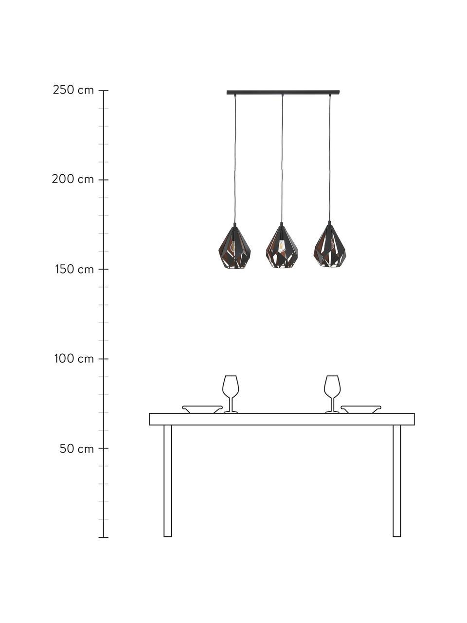 Grande suspension métal 3 lampes Carlton, Noir