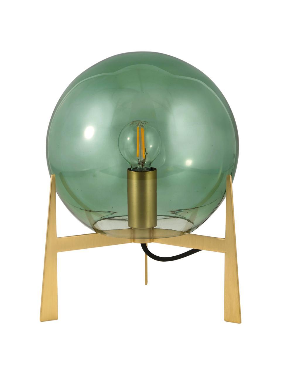 Kleine Tischlampe Milla aus farbigem Glas, Lampenschirm: Glas, Lampenfuß: Messing, Grün, Messingfarben, Schwarz, Ø 22 x H 28 cm