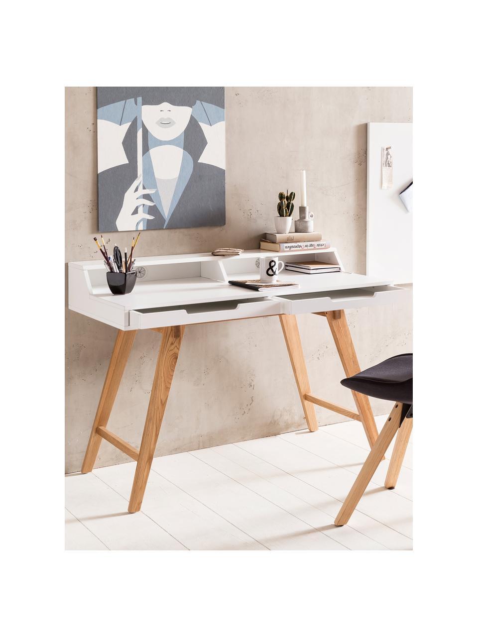 Bureau avec pieds en bois Skandi, Blanc, bois de chêne