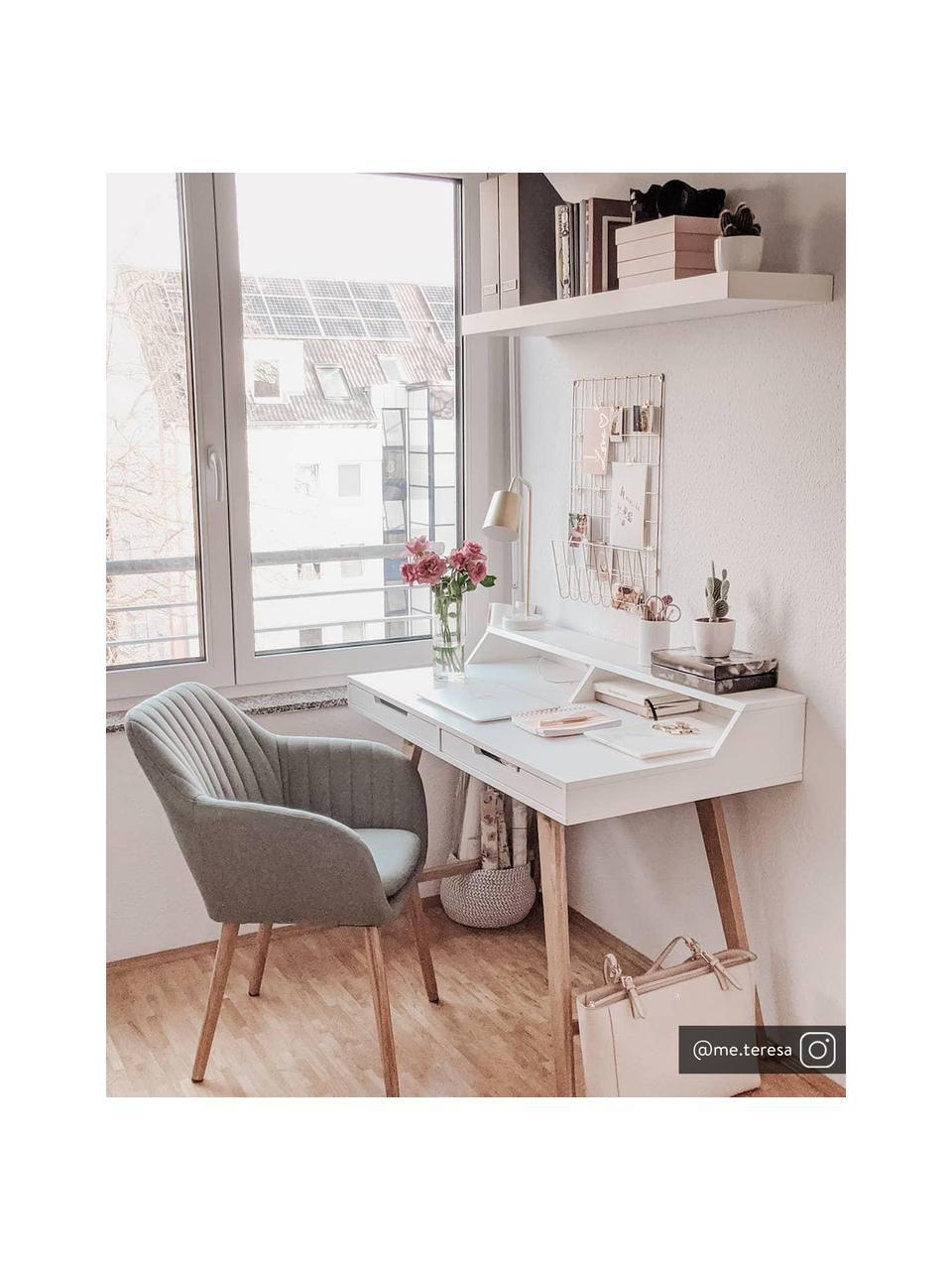 Schreibtisch Skandi in Weiß mit Holzbeinen, Korpus: Mitteldichte Holzfaserpla, Beine: Eichenholz, massiv, Weiß, 110 x 85 cm