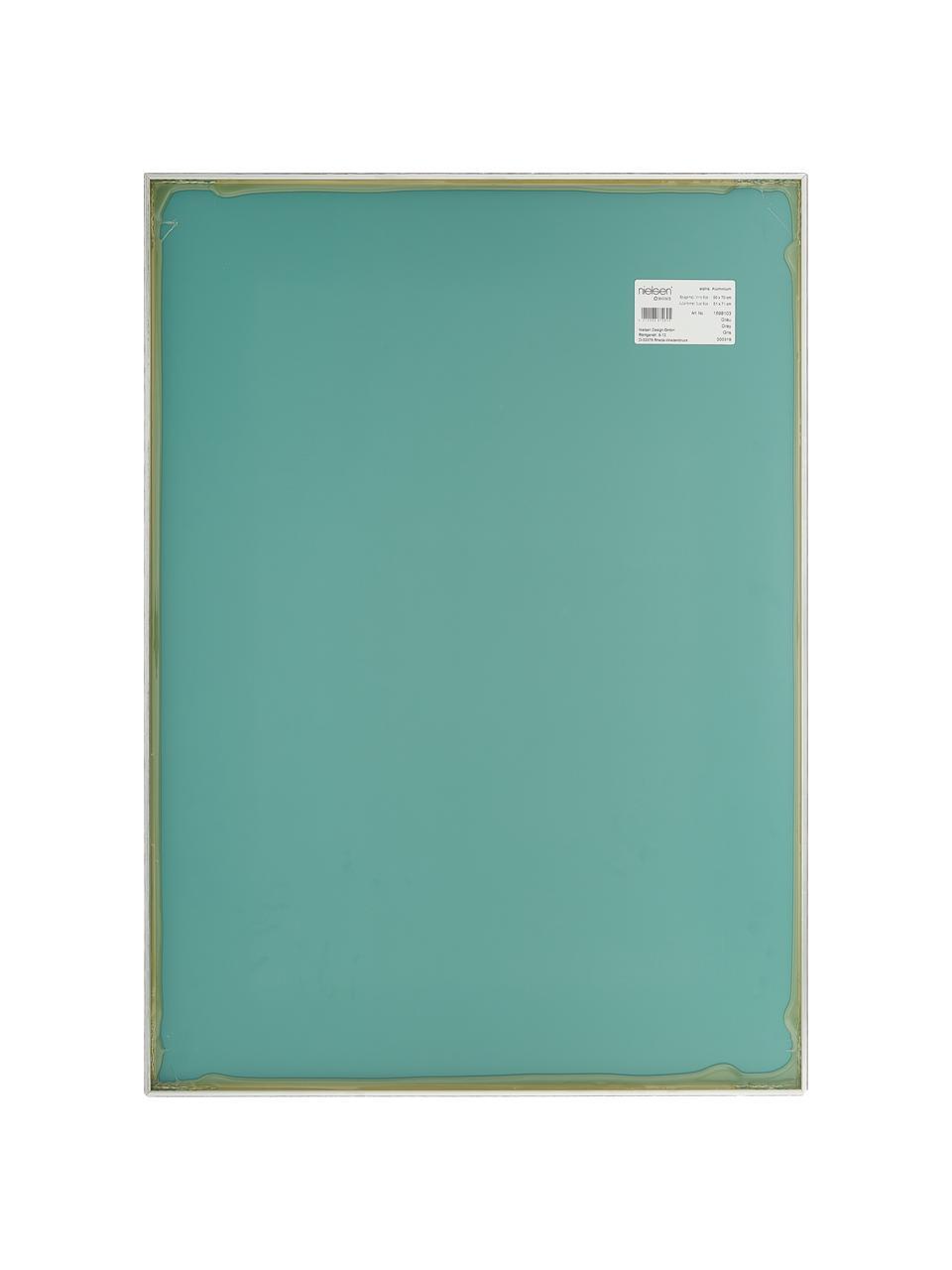Specchio da parete con cornice in alluminio Alpha, Cornice: alluminio rivestito, Superficie dello specchio: lastra di vetro, Grigio, Larg. 50 x Alt. 70 cm