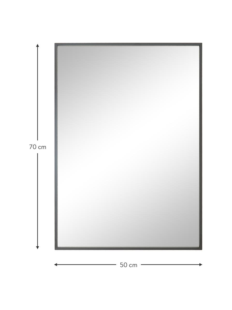 Eckiger Wandspiegel Alpha mit grauem Aluminiumrahmen, Rahmen: Aluminium, beschichtet, Spiegelfläche: Spiegelglas, Grau, 50 x 70 cm