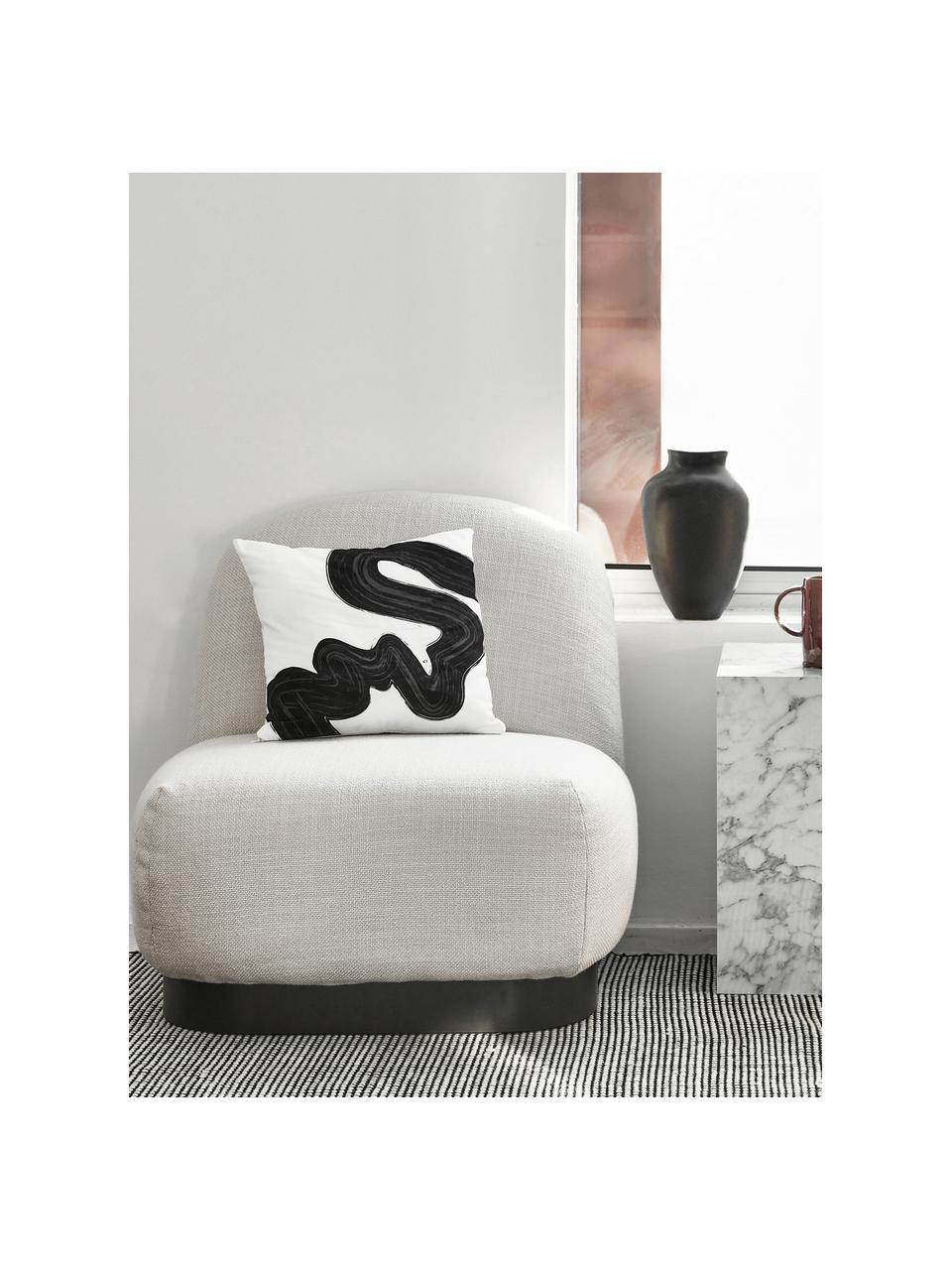 Tappeto rotondo in lana color nero/crema tessuto a mano Amaro, Retro: 100% cotone Nel caso dei , Nero, bianco crema, Larg. 200 x Lung. 300 cm (taglia L)