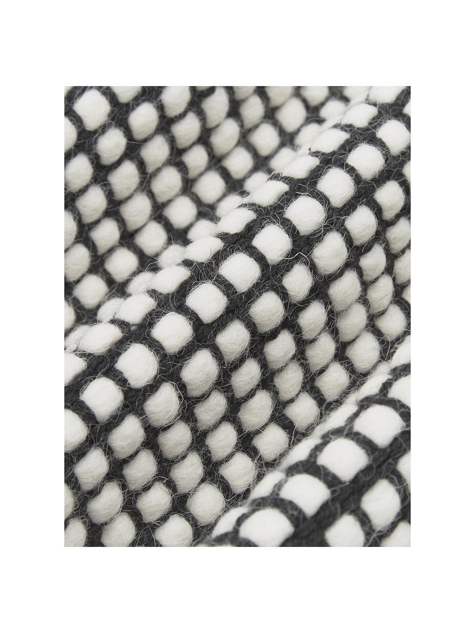 Tappeto in lana color nero/crema tessuto a mano Amaro, Retro: 100% cotone Nel caso dei , Nero, bianco crema, Larg. 200 x Lung. 300 cm (taglia L)