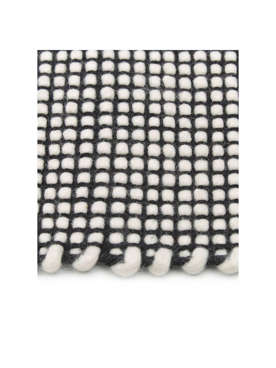 Tapis en laine tissé à la main Amaro, Noir, blanc crème