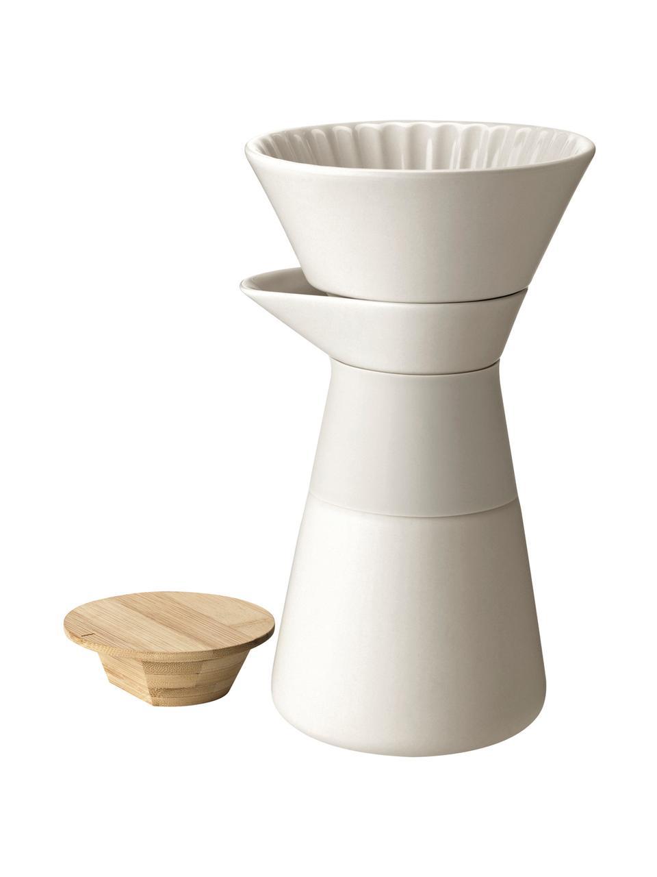 Kaffeebereiter Theo in Creme matt, Deckel: Bambusholz, Griff: Wärmeisolierendes Silikon, Creme, 600 ml