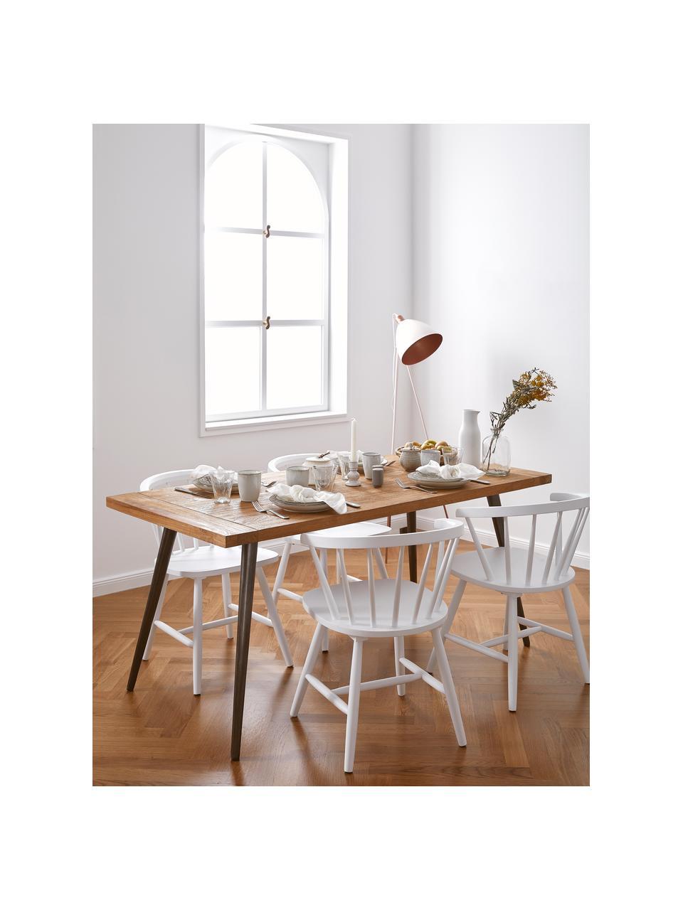 Eettafel Kapal met massief houten tafelblad, Tafelblad: 3,5 cm sterk, gerecycled , Poten: staal met metalen gebruik, Teakhoutkleurig, zwart, B 160 x D 80 cm