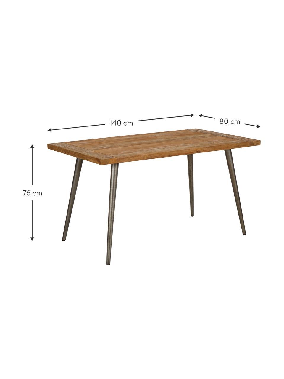 Stół do jadalni z blatem z litego drewna Kapal, Blat: lite drewno tekowe pochod, Nogi: stal z celowymi śladami u, Drewno tekowe, S 160 x G 80 cm
