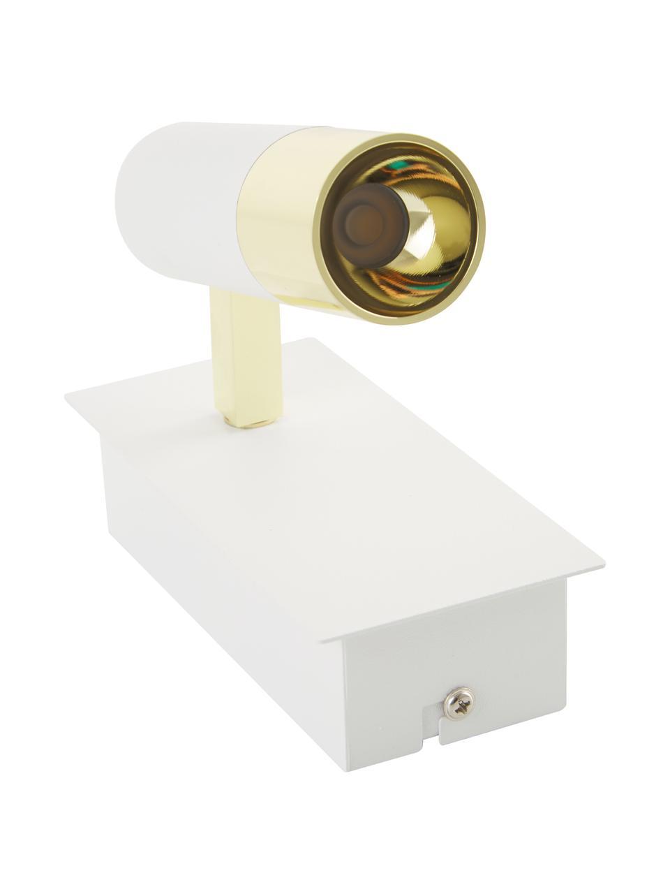 Faretto da parete bianco-oro a LED Bobby, Paralume: metallo verniciato a polv, Struttura: metallo zincato, Bianco, Larg. 7 x Alt. 15 cm
