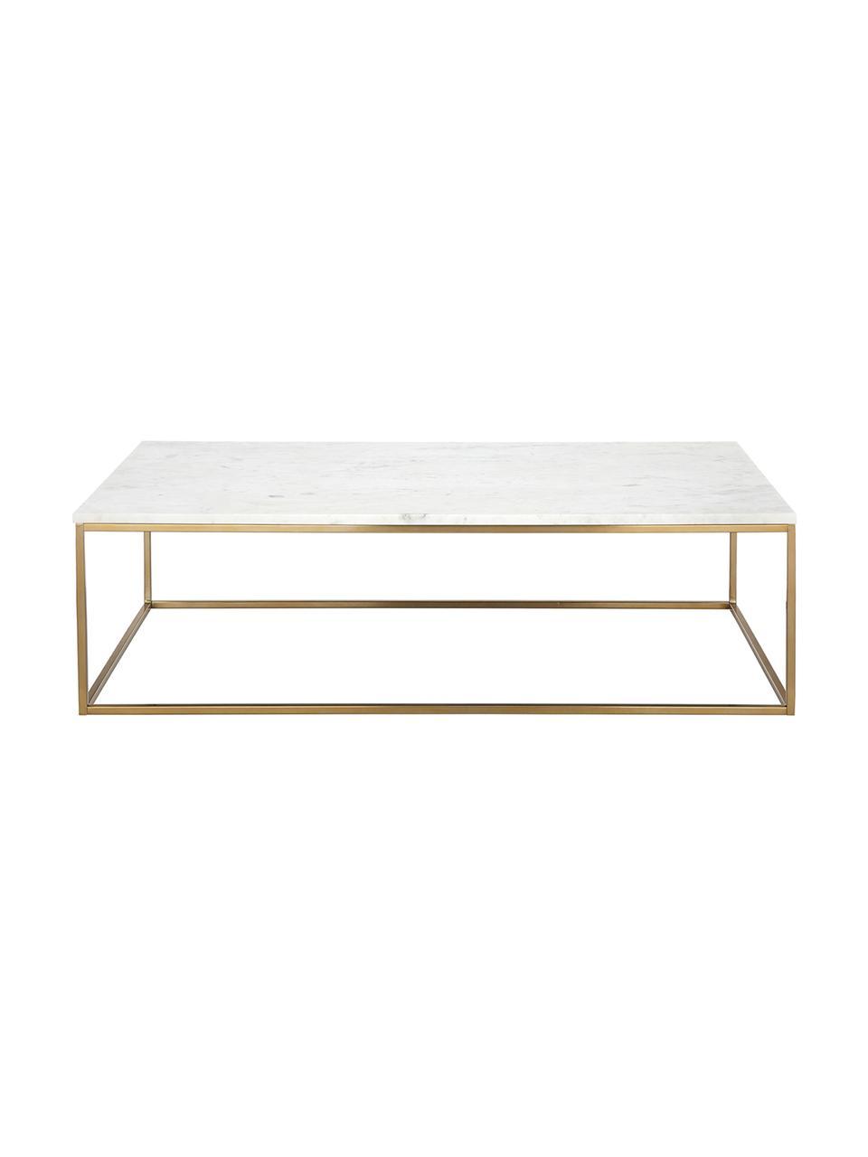 Tavolino da salotto con piano in marmo Alys, Piano d'appoggio: pietra naturale di marmo, Struttura: metallo rivestito, Marmo bianco, dorato, Larg. 120 x Alt. 35 cm