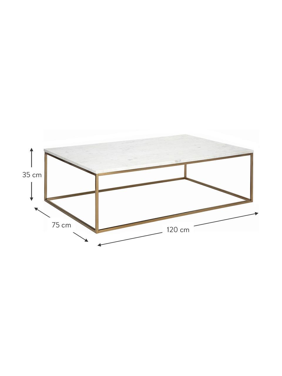 Mesa de centro de mármol Alys, Tablero: mármol, Estructura: metal recubierto, Mármol blanco, dorado, An 120 x Al 35 cm