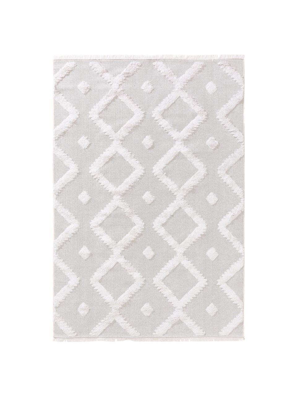 Dywan z bawełny w stylu boho z wypukłą strukturą Oslo, 100% bawełna, Kremowobiały, beżowy, S 190 x D 280 cm (Rozmiar M)