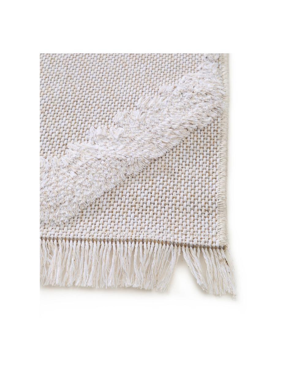 Waschbarer Boho Baumwollteppich Oslo mit Hoch-Tief-Muster, 100% Baumwolle, Cremeweiß, Beige, B 150 x L 230 cm (Größe M)
