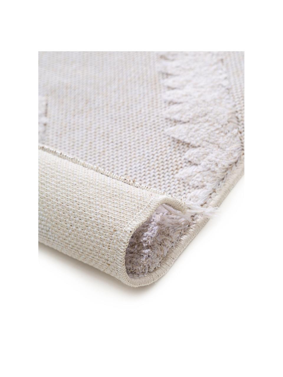 Tappeto in cotone lavato con motivo a rilievo Oslo, 100% cotone, Bianco crema, beige, Larg. 190 x Lung. 280 cm
