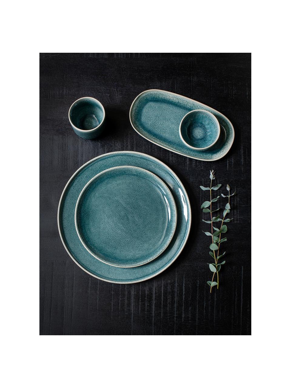 Steingut Becher Audrey, 2 Stück, Steingut, Grün-Blau, Ø 8 x H 9 cm