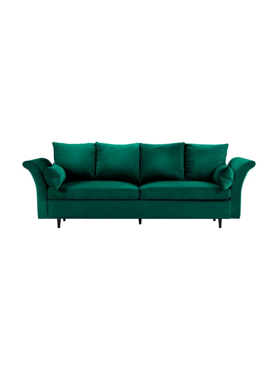 Divano letto 3 posti in velluto verde Lola, Rivestimento: velluto di poliestere Il , Piedini: legno di pino verniciato, Verde bottiglia, Larg. 245 x Alt. 95 cm