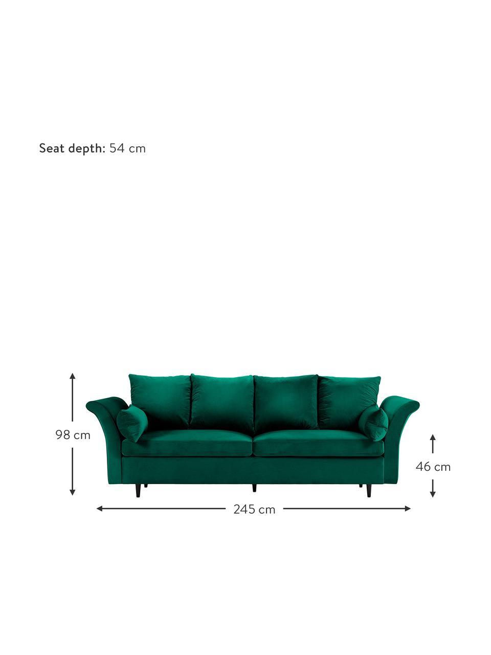Sofa z aksamitu z funkcją spania i miejscem do przechowywania Lola (3-osobowa), Tapicerka: aksamit poliestrowy Dzięk, Nogi: drewno sosnowe, lakierowa, Butelkowy zielony, S 245 x G 95 cm