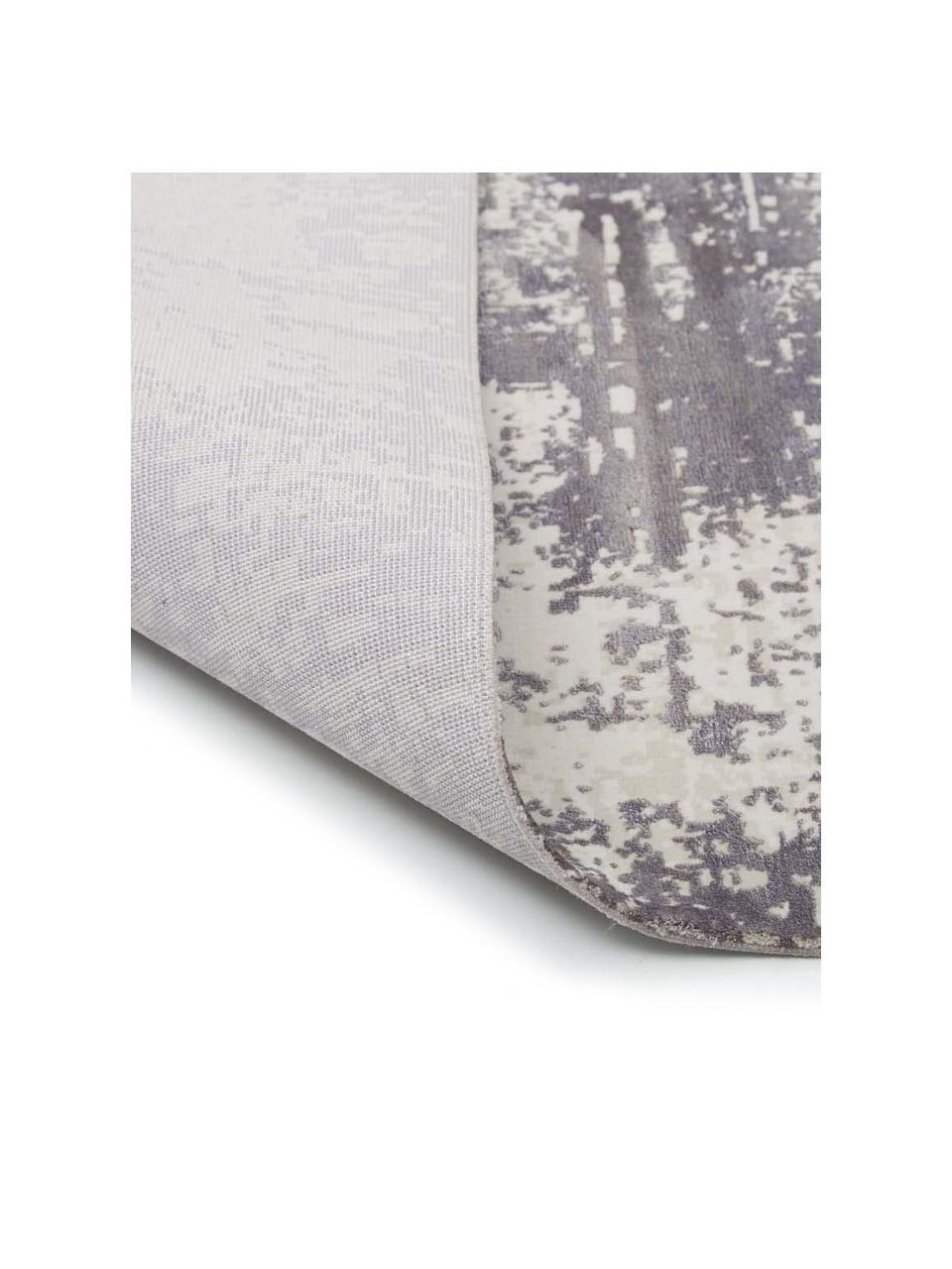 Tappeto vintage con frange effetto lucido Cordoba, Retro: cotone, Tonalità grigie con le sfumature viola, Larg. 130 x Lung. 190 cm (taglia s)
